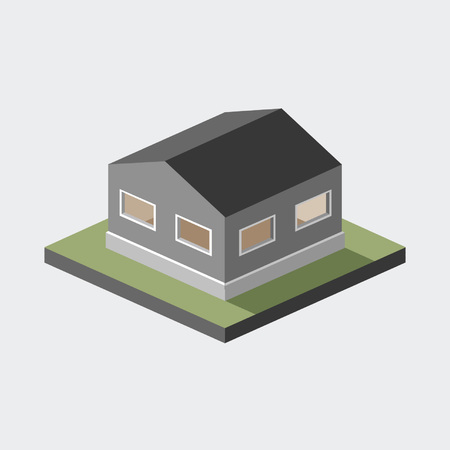 Simple 3d house on a sample of land