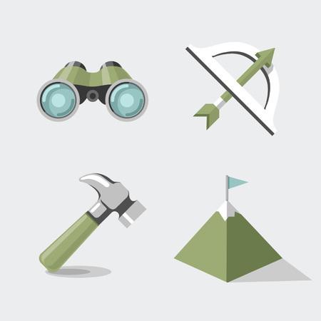 さまざまなアイコン、双眼鏡、弓、マウンテン、ハンマーのセット