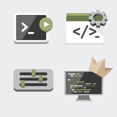 さまざまなアイコン、ターミナル、コーディング、チューニング、コンピューター  イラスト・ベクター素材