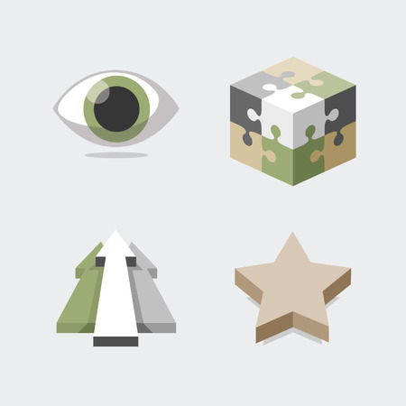 Set of various icons eye, puzzle cube, arrows, star