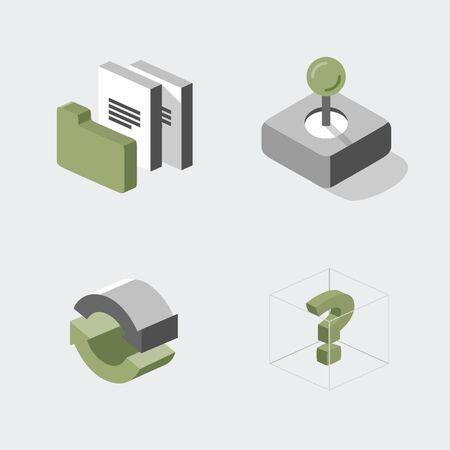 Set of various icons folder, papers, joystick, arrows, question mark