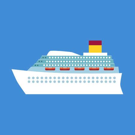 cruise liner: White cruise liner, passenger ship (flat style)