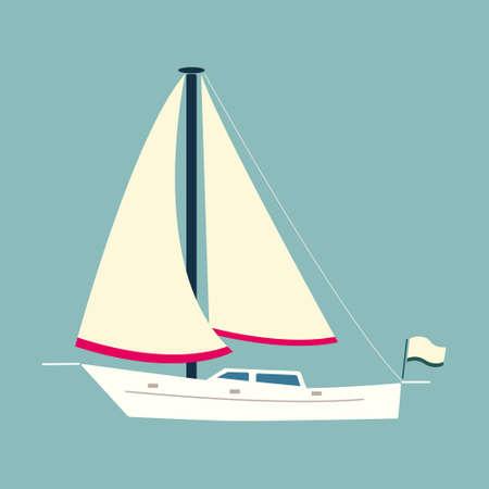 bateau voile: Blanc voilier (style plat). Vecteur isolé Illustration
