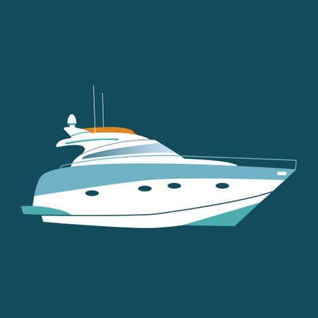 yacht isolated: White luxury yacht isolated on blue background. Flat style