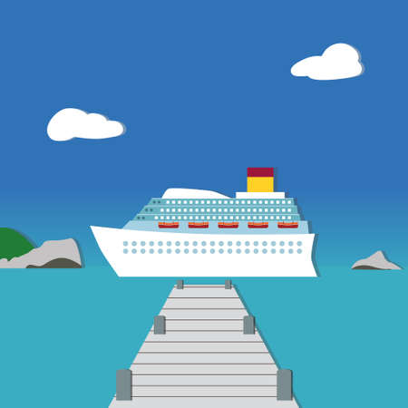 dreamy: White passenger liner in dreamy landscape on lovely bright day. Applique style. Illustration