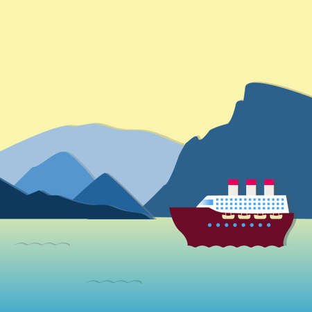 steamship: Large steamship going along the mountains at sunset. Beautiful scenery. Applique style. Illustration
