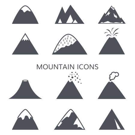ridge: Black and white mountain vector icons set