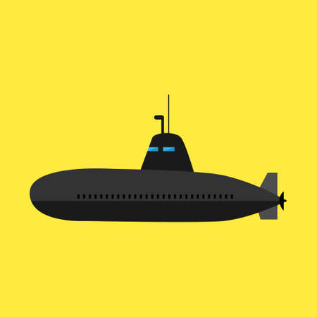 Black submarine icon on yellow background. Flat style Çizim