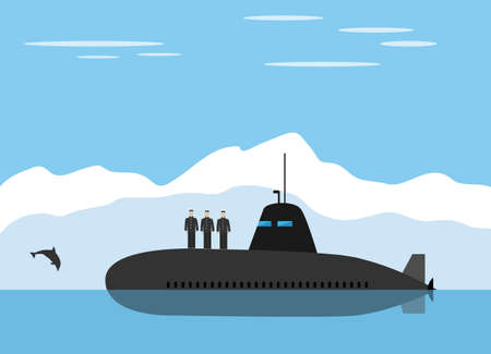 icy: Black submarine with sailors in icy mountain landscape
