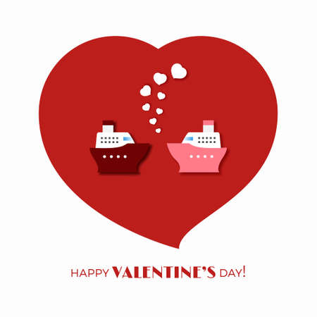Happy Valentine's Day card with big red heart and ships in love. Use for printing, web design, greeting cards. Vector