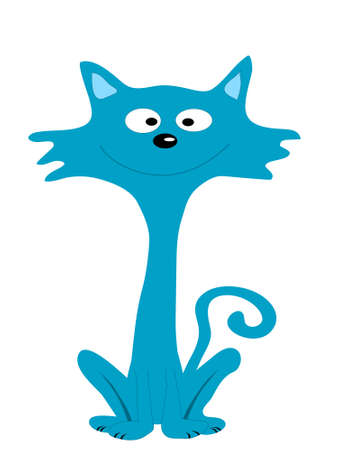 Dark blue cat, illustration, vector, Vector