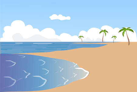 tranquil scene: Seacoast, sand, vector, palm trees,  sky,  illustration