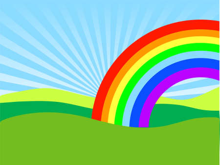 Field on a background of the sky, Rainbow Stock Vector - 3234646