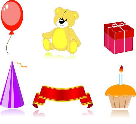 fruitcake: Set of party icon, vector