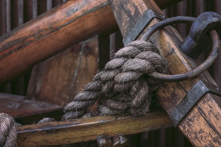 cable tangle: Blocks and rigging at the old sailboat, close-up