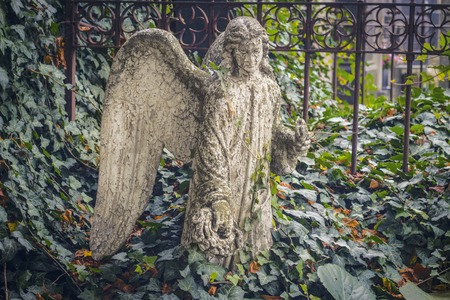 Sad angel, a statue near the church in Kutna Hora. Sedlec Ossuary Czech: Kostnice in Sedci . Stock fotó