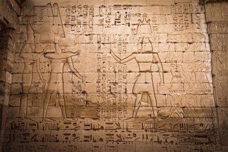 Egyptian ancient hieroglyphs in the Temple of Medina Habu.