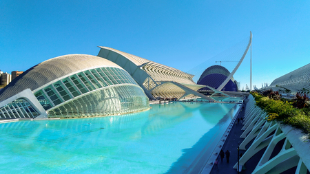 Beautiful modern architecture of the building in the complex City of Arts and Sciences in Valencia, Spain.