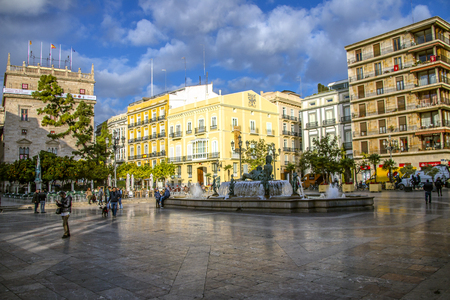 St. Virgin Square with a beautiful fountain in Valencia, Spain.