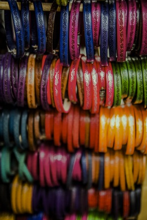 Traditional Florence souvenirs, bright leather bracelets