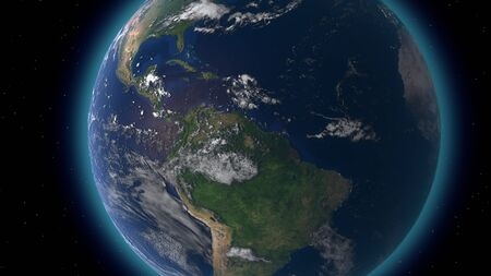 Flying over the earth's surface, 3D rendering Фото со стока - 132024140