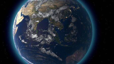 Flying over the earths surface, 3D rendering