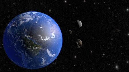 An asteroid flies to the earth. 3D rendering.