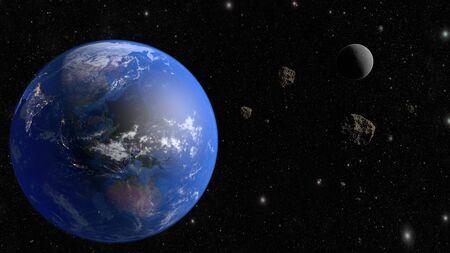 An asteroid flies to the earth. 3D rendering. Reklamní fotografie