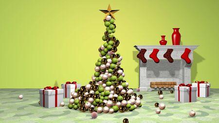 Beautiful animated christmas tree. 3D rendering.