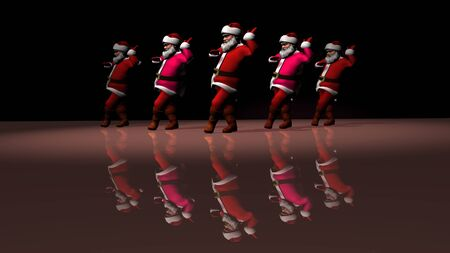 Five cheerful Santa Clauses in a red suit are dancing. 3d rendering . Фото со стока - 132024418