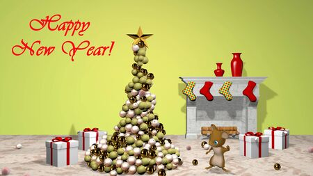 Beautiful Christmas tree and a cute little mouse. 3D rendering. Фото со стока