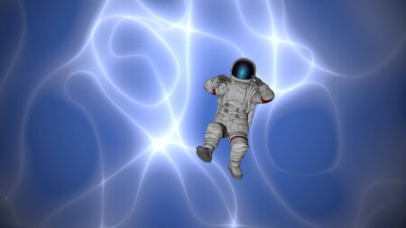 Mysterious nebula and space flight. 3D rendering.