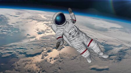 The astronaut hits planet Earth. 3D rendering Фото со стока