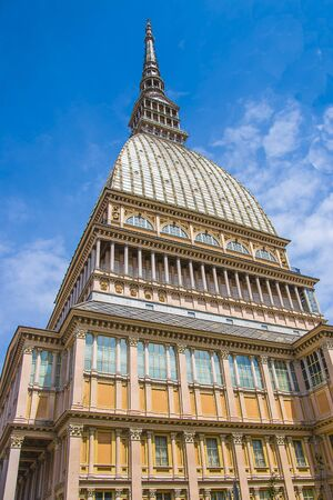 Traditional view of the Italian Turin and Mole Antonelliana,