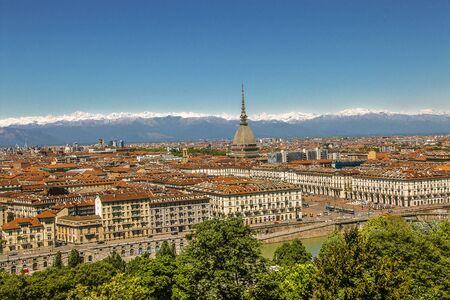 Traditional view of the Italian Turin and Mole Antonelliana,