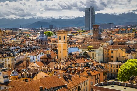 Beautiful cityscape of Turin on a background of mountains. Banco de Imagens