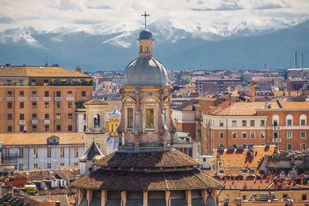Beautiful cityscape of Turin on a background of mountains. Фото со стока