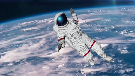 The astronaut hits planet Earth. 3D rendering. Фото со стока