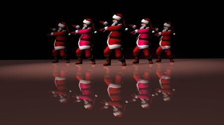 Five cheerful Santa Clauses in a red suit are dancing. 3d rendering .