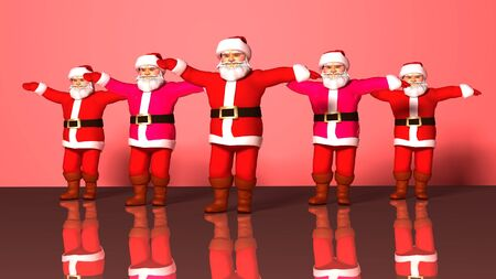 Five cheerful Santa Clauses in a red suit are dancing. 3d rendering Фото со стока - 136811454