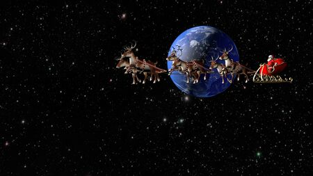 Santa Claus carries gifts on a sleigh pulled by deer. Fantastic flight around the Earth. Фото со стока