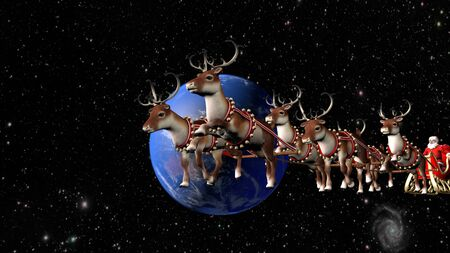 Santa Claus carries gifts on a sleigh pulled by deer. Fantastic flight around the Earth Фото со стока