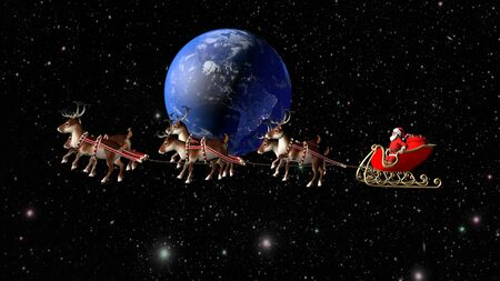 Santa Claus carries gifts on a sleigh pulled by deer. Fantastic flight around the Earth. Stock Photo