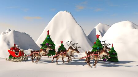 Santa Claus carries gifts on a sleigh pulled by deer. 3D rendering.