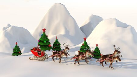 Santa Claus carries gifts on a sleigh pulled by deer. 3D rendering. Фото со стока - 136811468