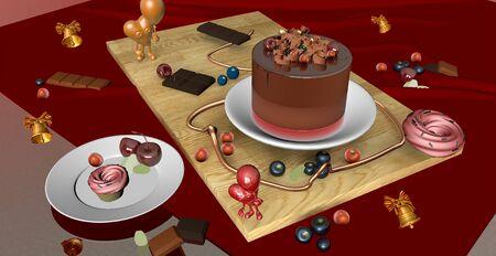 Birthday cake and birthday presents. 3D rendering.