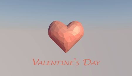 Valentines Day Greeting Card. 3D rendering.
