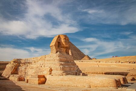 Ancient sphinx and pyramids, symbol of Egypt.