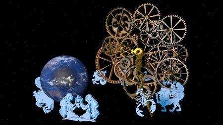 Zodiac horoscope, 12 zodiac signs and a clockwork. 3D rendering.
