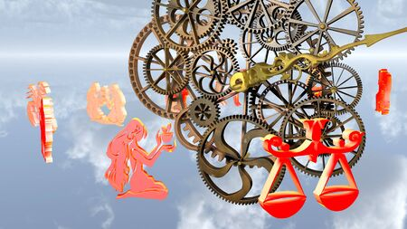Zodiac horoscope, 12 zodiac signs and a clockwork. 3D rendering.